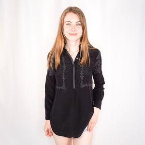 MADEWELL Embroidered Black Silk Blouse 0466